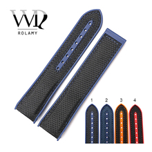 Rolamy 20 22mm Wholesale Hot Sell Rubber Silicone With Nylon Replacement Watch Band Strap Belt For Planet Ocean 45 42mm
