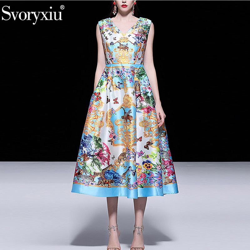 Svoryxiu Runway Summer Sexy V Neck Midi Dress Women s Fashion Sleeveless Beading Floral Print Vintage