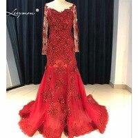 Leeymon Sexy Aperto Indietro Vestito Da Promenade 2017 Burqundy Rosso Maniche Lunghe Paillettes Pizzo Prom Formal Dress Vestido de Formatura SE08