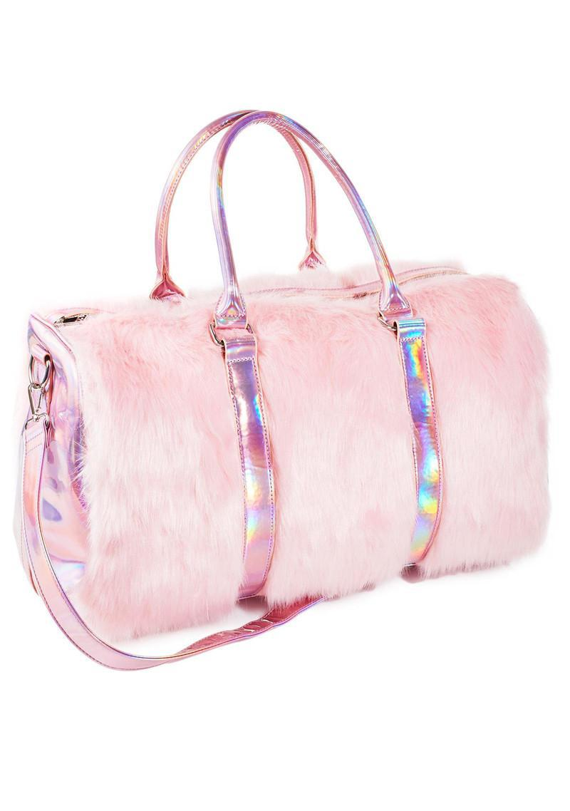 YESIKIMI Sweet Pink Color Soft Faux Fur Handbags 50cm Large Size Travel Laser Boston Bag