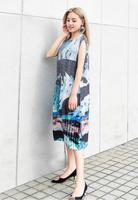 ISSEY Summer new retro women's print dress Slim high slim waist lantern pleated dress free shipping