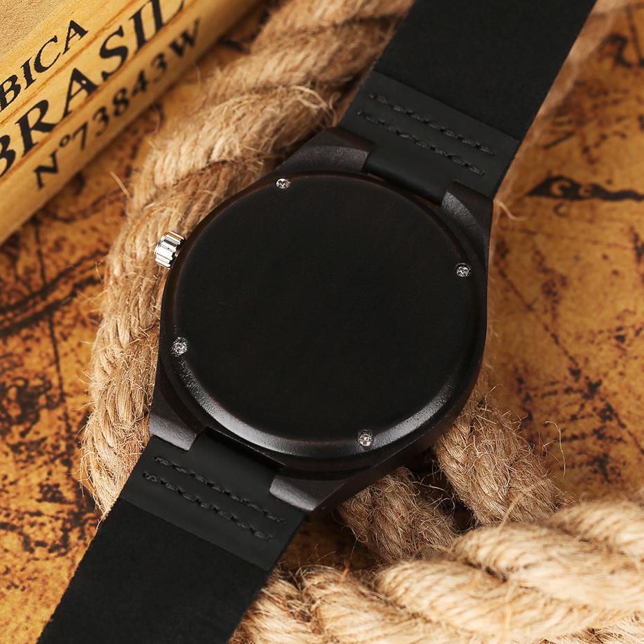 2017 Fashion Nature Ebony Wood Watch Mens World Map Handmade Black Quartz Wristwatch Minimalist Classic Bamboo erkek kol saati (12)