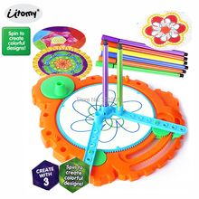 Color-Spinout Spirograph Drawing Design Set Creative Spiral 6pcs Design Pens Spin to Create Colorful Designs Educational toys
