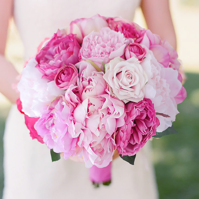 Iffo New Handmade Peony Artificial Bride Bouquet Pink & Hot Pink Peony Holding Flowers Bridesmaids Pink Peony Bouquet Bridal