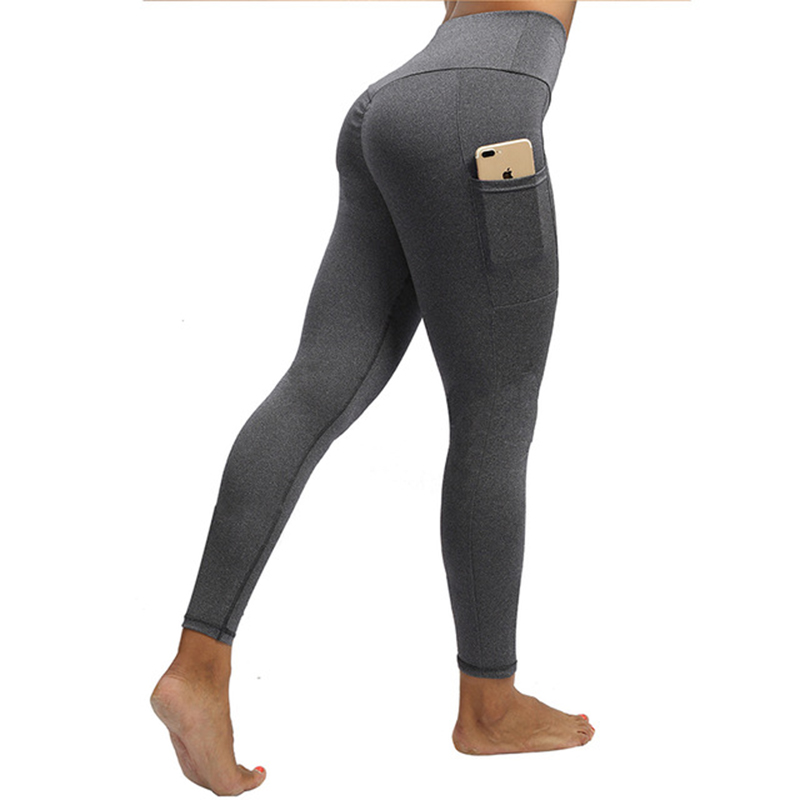 NORMOV Casual Solid Women Leggings Workout High Waist Ealstic Push Up With Pockets Ankle Length Polyester Leggings Plus Size