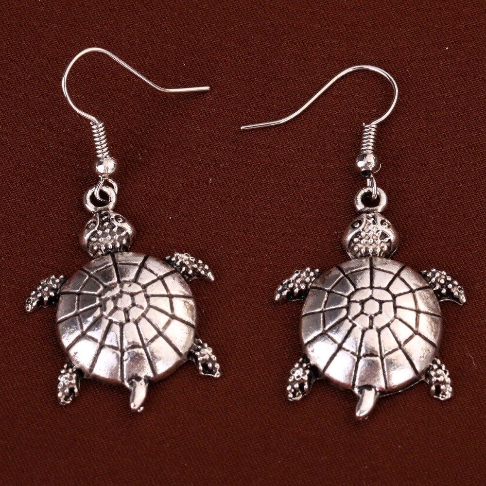 Ton argent tortue tortue boucles d/'oreille avec cristal clair