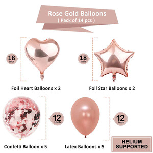 Image 2 - 14pcs Rose Gold Star Confetti Balloon Happy Birthday Decoration 1st First Birthday Boy Girl Party One Year Just Married Decor