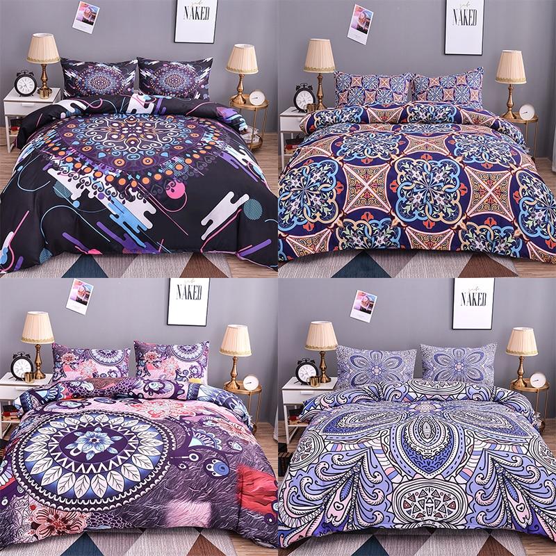 Boniu Bohemian Bedding Set Mandala Pattern Duvet Cover 2/3 Pcs Geometric Print Twin Size Comfortable Quilt Cover Pillowcase