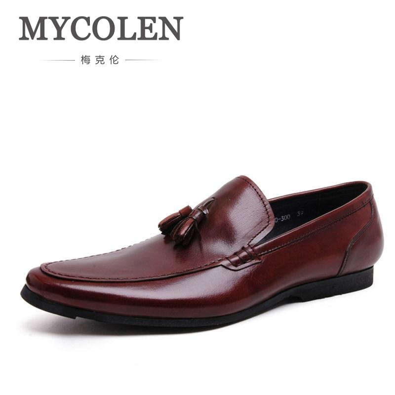 MYCOLEN New Men Shoe With Tassel Party And Wedding Men Dress Shoes British Style Men Loafers Business Casual Men's Flats men loafers paint and rivet design simple eye catching is your good choice in party time wedding and party shoes men flats