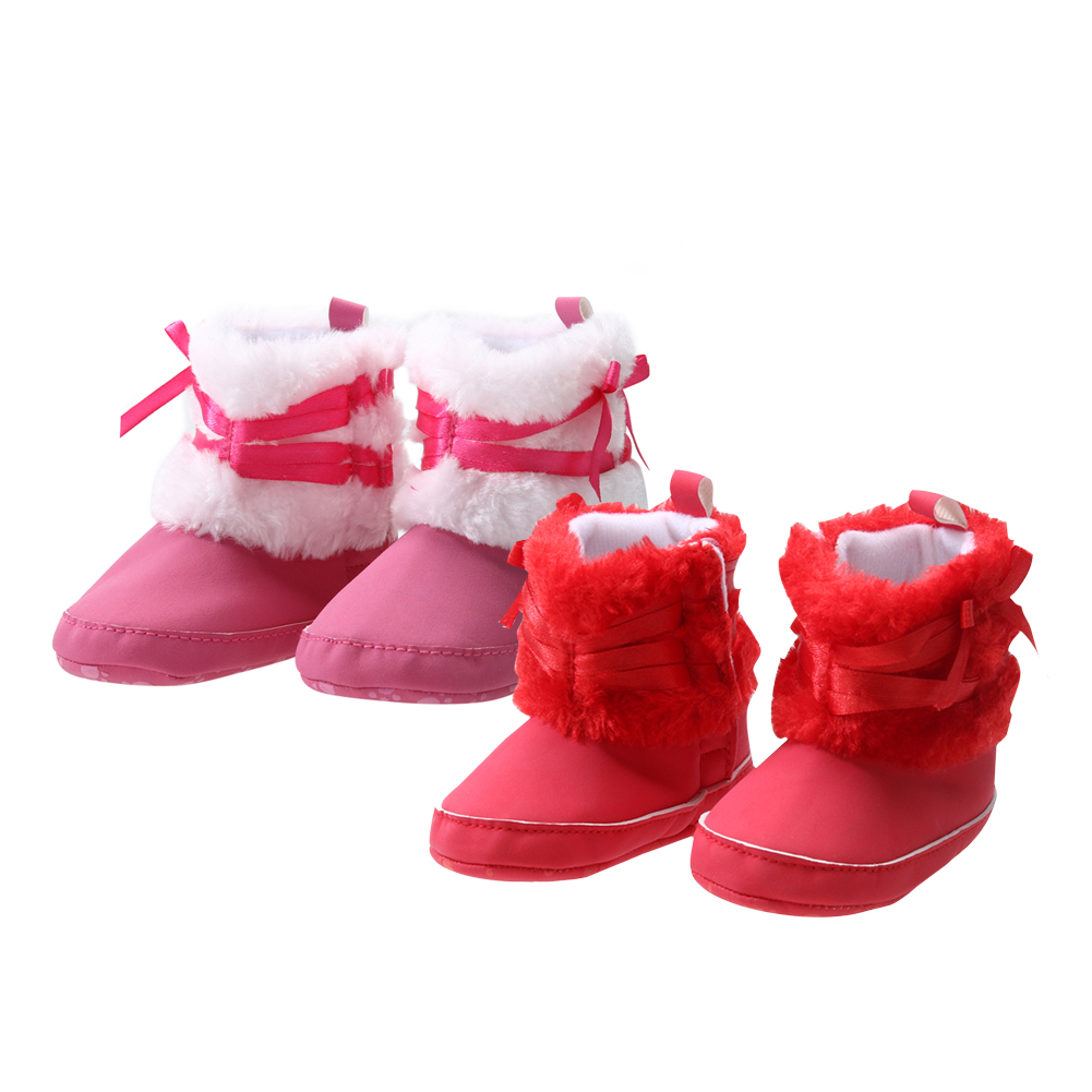 Pink Winter Snow Boots NewBorn Baby Girls Infant Solid Bowknot Shoes Prewalker Baby Keep Warmest Sweet Kids First Walkers