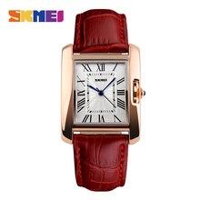 Skmei cuarzo de las mujeres relojes de moda de lujo casual reloj de cuero correa de oro rosa señora dress girls relogio feminino montre 1085