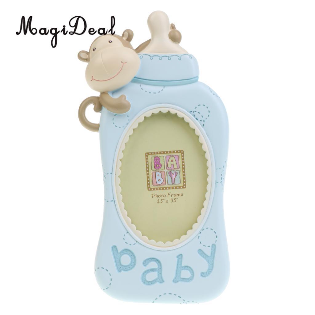 Cartoon Monkey Feeding Bottle Kids Birthday Favor Baby Shower Boys Girls  Milk Bottle Photo Frame Picture