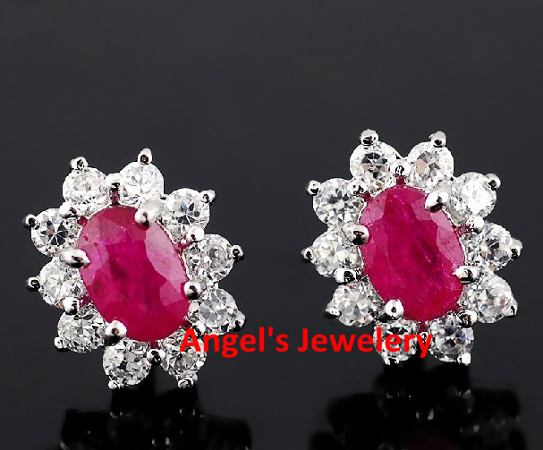 Ruby Earrings Free Shipping Natural And Real With Pink Gems Fine Stud