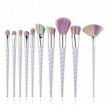 Hot 10pcs Unicorn Makeup Brushes Set Foundation Eyeshadow Base Powder Blush Blending Brushes Makeup Brush Cosmetic Tools