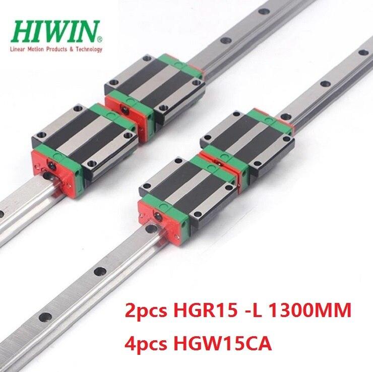 2pcs 100% original Hiwin linear rail HGR15 -L 1300mm + 4pcs HGW15CA ( HGW15CC ) flange block carriage for cnc router 2pcs 100% original Hiwin linear rail HGR15 -L 1300mm + 4pcs HGW15CA ( HGW15CC ) flange block carriage for cnc router