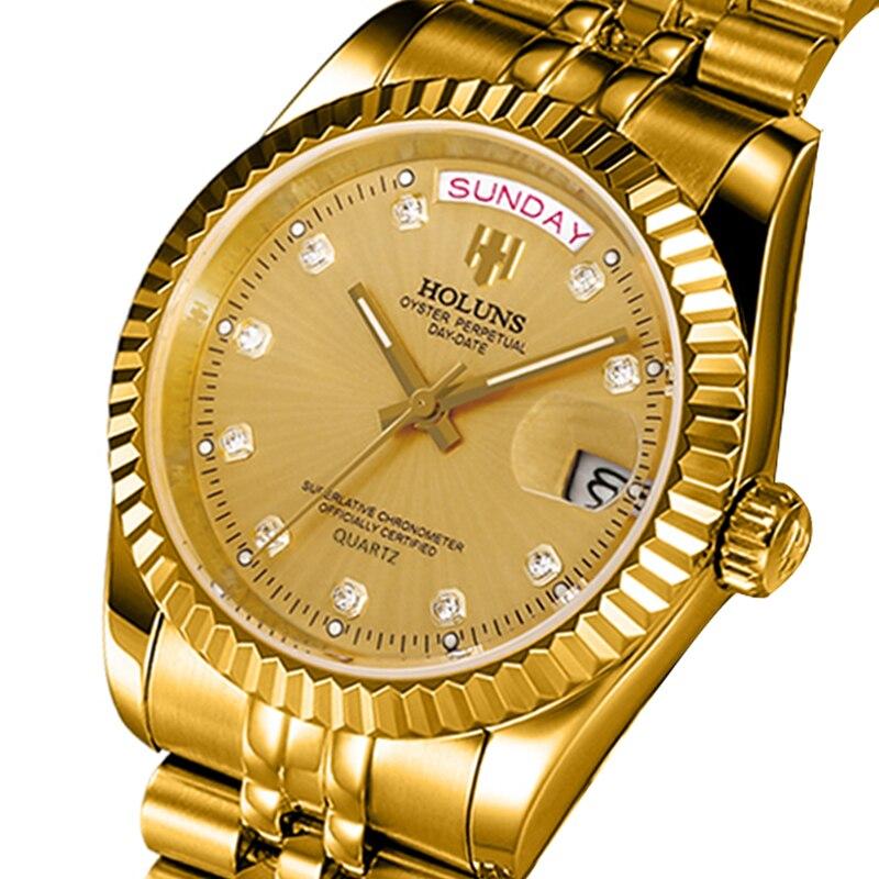 33722aa379 Holuns 2018 Homens Relógios Top De Luxo Da Marca de Diamantes em Ouro Papel  Calendário Relogio masculino de Aço Inoxidável Relógio de Pulso Relógio de  ...