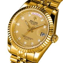 Holuns גברים שעונים 2019 יוקרה למעלה מותג זהב יהלומים תפקיד קוורץ נירוסטה לוח שנה Relogio Masculino שעון יד שעון