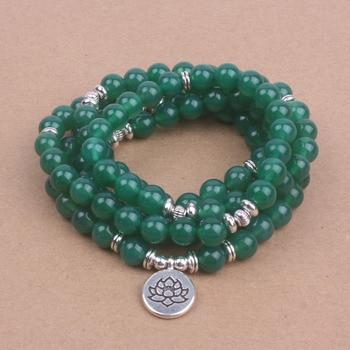 Chapelet Tibétain Mala 108 Perles d'onyx vert