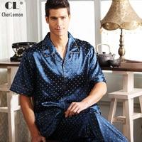 CherLemon Men's Summer classic silk Satin pajama set Male short sleeve button down shirt with elastic waist Pants PJ Loungewear