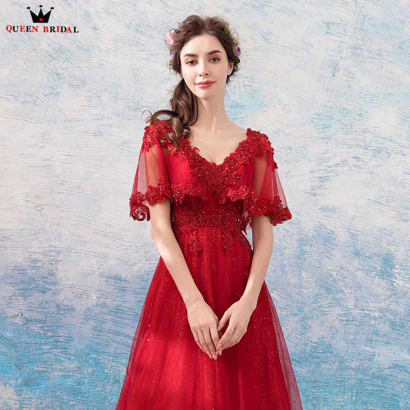 A line Cape Lace Beading Tulle Long Formal Red Evening Dresses 2018 ...