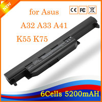 New brand Laptop Replacement Battery for Asus A32 A33 A41 K55 K75 5200mAh 6cells Compatible with 11.1V