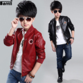2Y-14Y Boys Leather Jacket Children 2017 Boys Spring Autumn Casual Solid PU Faux Leather Coat Teenage Kids Outwear 10 12 14