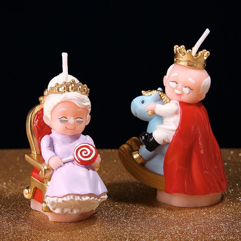 실리콘 금형 생일 촛불 오래된 왕 및 여왕 장수 부모 할머니 골드 웨딩 촛불 금형 케이크 장식