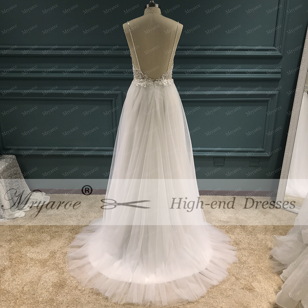 Mryarce Exclusive lace Beading Flowing Tulle A Line  Wedding Dress Open Back Summer Beach Elegant Bridal Gowns  (9)
