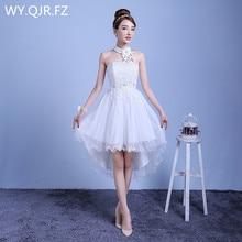 ZX D48BS #2019 جديد الصيف قصير قبل فترة طويلة بعد فقرة قصيرة فساتين وصيفة العروس فستان زفاف بنات أنثى نخب أبيض