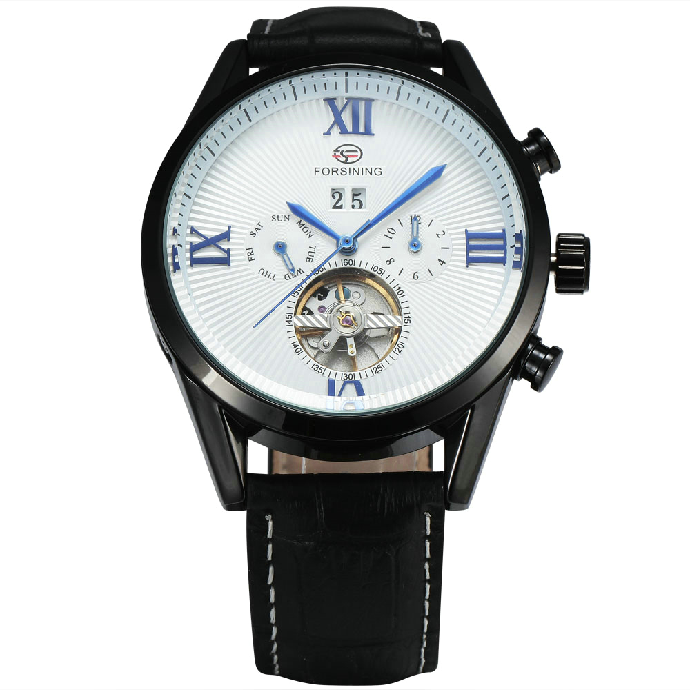 WINNER Multi-function Men Automatic Mechanical Watch Tourbillon Male Wrist Watch with  Sub-dials Date Calendar Leather Strap winner 2016 new automatic watch men s mechanical date display analog black silicone strap sports wrist watch men xfcs