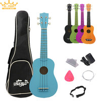 21 Inch 5 colour Basswood Pure Color Ukulele Musical Instrument 4 Strings + Bag Picks Pickup Strings