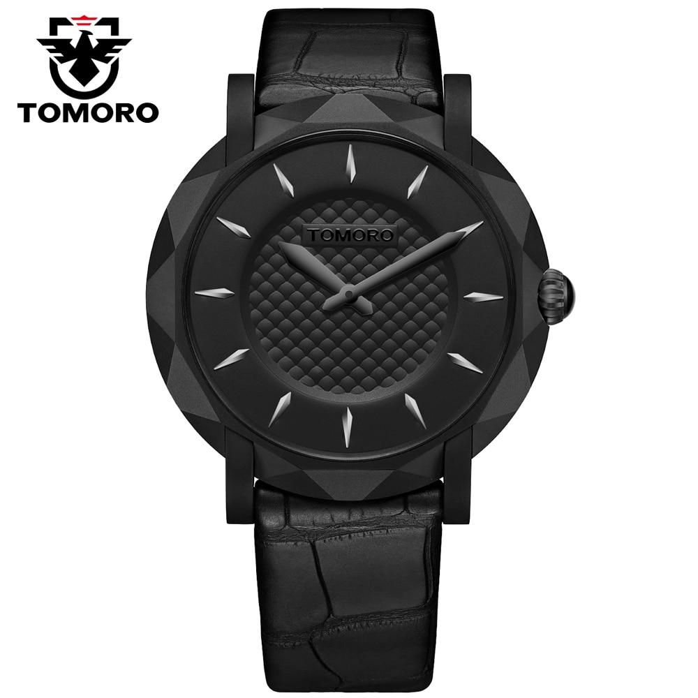 TOMORO Top Noir Marque De Luxe Quartz Bold montre hommes Casual Japon quartz-montre Véritable Leahter Sangle ultra mince horloge mâle Nouveau