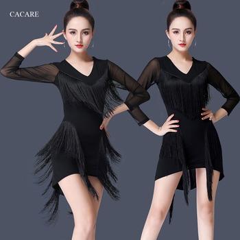 81aad0bcdf906 Vestido de baile latino para mujer de Salsa Tango Gatsby aleta traje de  baile vestido de Competencia 2 opciones D0434 borla