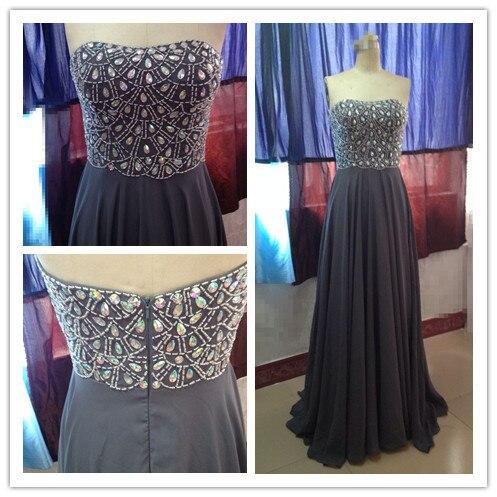 Реальное изображение vestido de formatura платья на выпускной с кристаллами Стразы длина до пола вечернее платье новая коллекция - Цвет: Серый