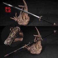 47-дюймовый старинный китайский длинный меч  Алмазная форма  кованая Дамасская сталь  двойные края  боевое искусство  домашнее украшение