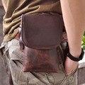 Top Qualidade do Couro Genuíno Real dos homens do vintage Marrom Pequeno Saco Cinto Pacote de Cintura Saco Queda 611-10A