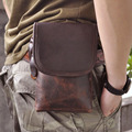 Top Quality Genuine Real Leather men vintage Brown Small Belt Bag Waist Pack Drop Bag 611-10A