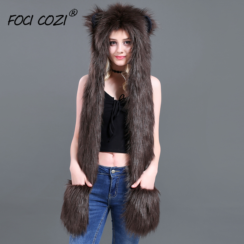 Winter Accessories Animal Hooded Scarf Gloves Mittens Faux Fur Brown Bear Hat 3-in-1 Function Soft Furry Hoodie with Paws Ears
