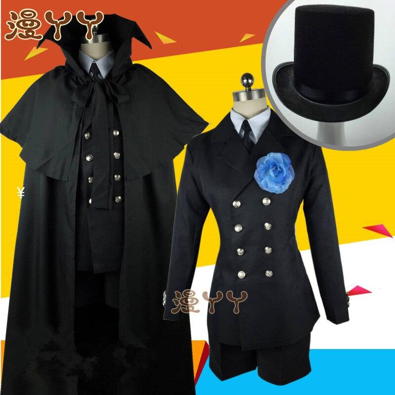 Costume funéraire Cos kuroshisuji Anime chaud noir majordome Ciel fantôme Cosplay quotidien vêtements ensemble ont chapeau cape anneau lunettes