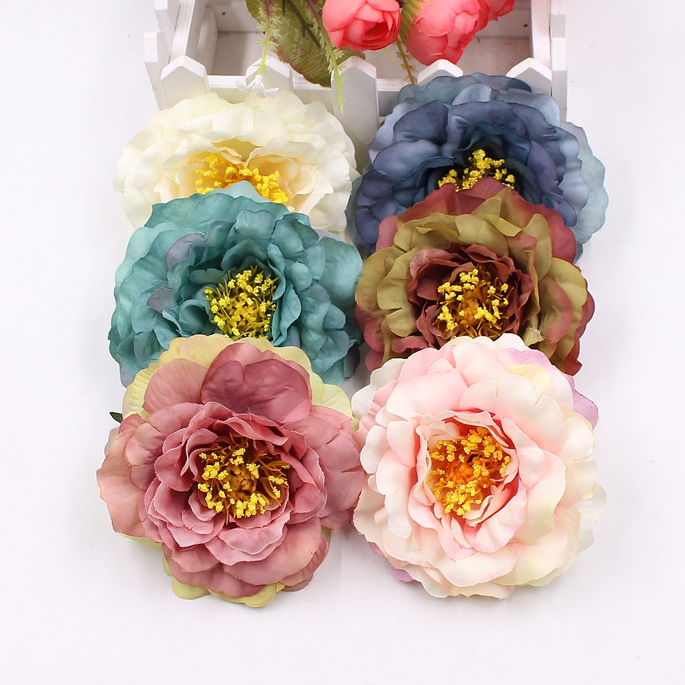 Hot Sale 2pcs 9cm High Quality Artificial Peony Flower Silk Silk