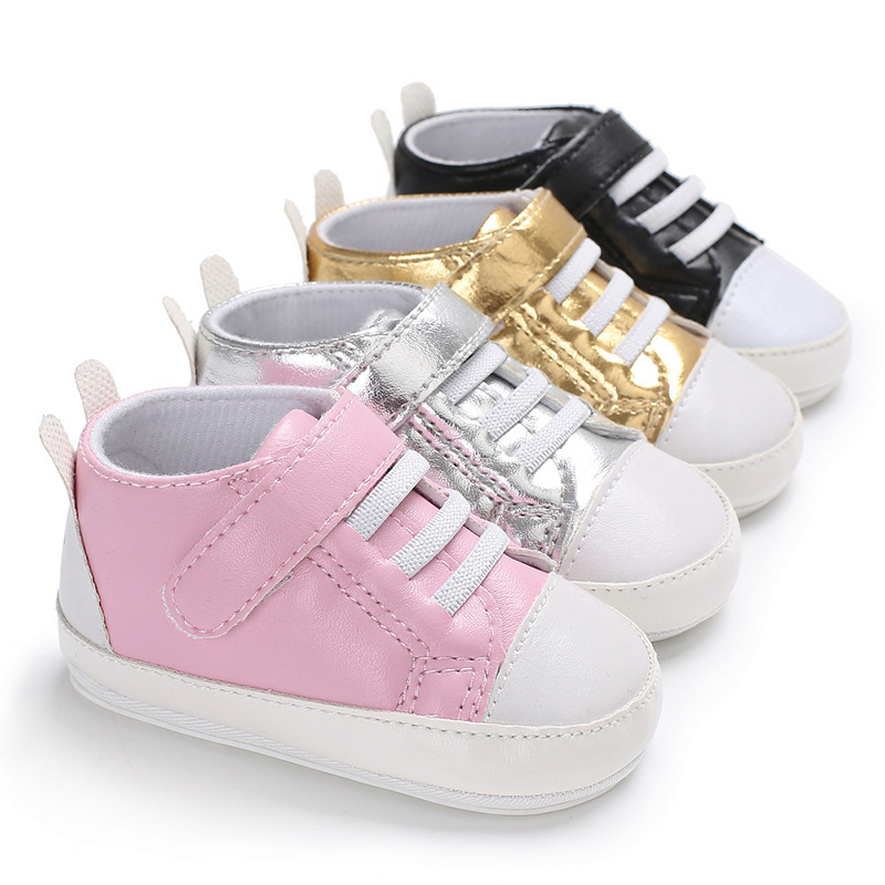 High quality PU Leather Prewalker shoes Sweet baby Sneaker Anti-skid Newborn Baby Boy and girls moccasins First Walker 0-18M
