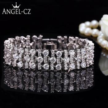 3aa3e7455a94 ANGELCZ cuadrado clásico piedras Esmeralda simuladas pulsera de tenis  Simple de Color dorado para ...