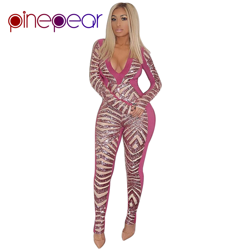 f760ea0b405d PinePear 2019 NEW Winter Pink Glitter Sequin Jumpsuit Women Luxury Sexy Club  Long Sleeve V Neck Bodycon Bodysuit Drop Shipping-in Jumpsuits from Women s  ...