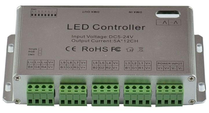 DC5 24V 12 kanaals DMX512 RGB LED Strip Controller DMX Decoder Dimme en USB DMX PC Controller - 3
