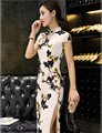 Trend Long Chinese Cheongsam Short Sleeve National Dress Vintage Qipao Chinese Traditional Garments
