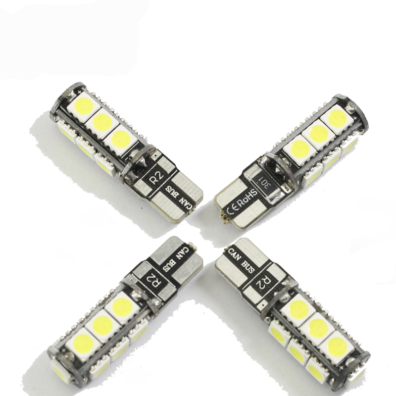 Universal T10 LED reverse light W5W marker lamps 13 5050 SMD automotive led bulb 12V canbus xenon halogen car dashboard 4pcs car w5w t10 led light 48 3014 smd side marker lamps warm white clearance lights bulb dc 12v