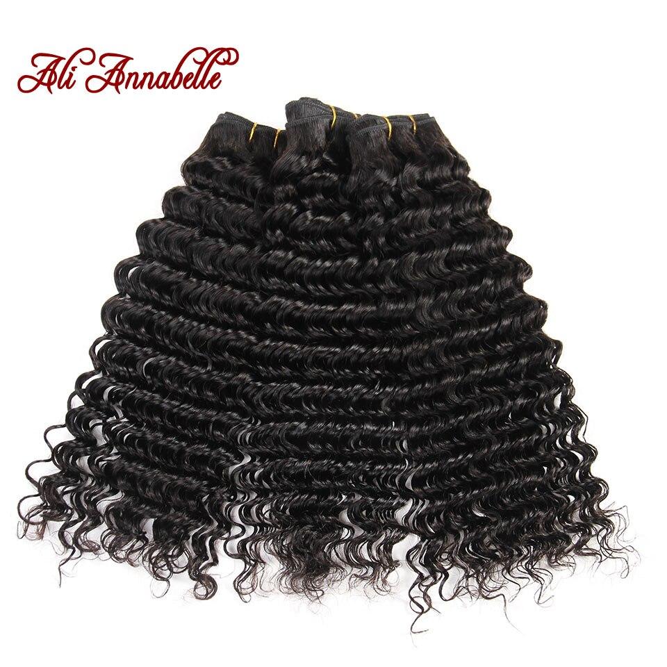 HTB1gyEdaIfrK1Rjy1Xdq6yemFXaL ALI ANNABELLE HAIR Human Hair Bundles With Closure Remy Hair 3 Bundles Brazilian Deep Wave Human Hair with HD Lace Closure