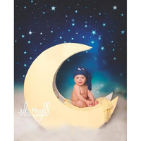 Night Sky Stars And Moon Backdrops High Grade Vinyl Cloth Computer Printed Newborns Photography Studio Background