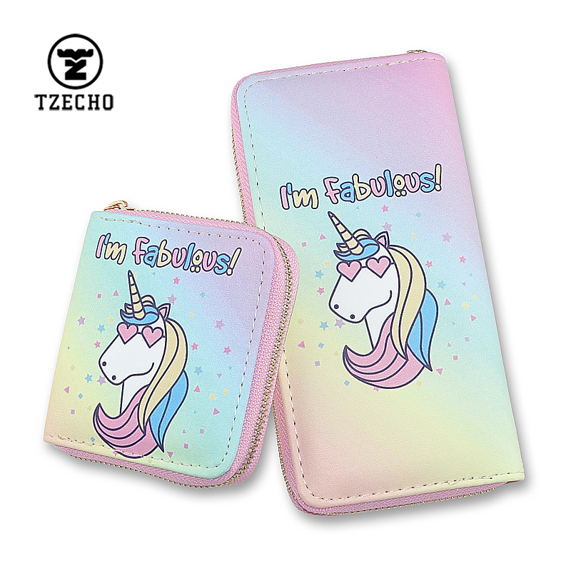 TZECHO Purse Organizer Phone 7 8 Plus S9 PU Cartoon Unicorn Ladies Clutch Bag Rfid Long Zipper Women Wallets for Teen Girl Gift