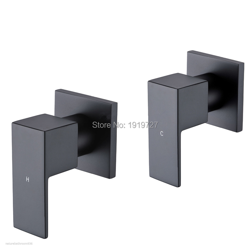 Factory Direct Modern Watermark Square Style Wall 1 4 Turn Bath Tub Solid Brass Black Tap